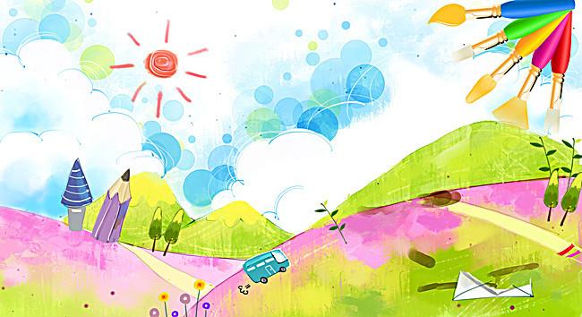 儿童绘画比赛海报背景素材_平面广告图片下载