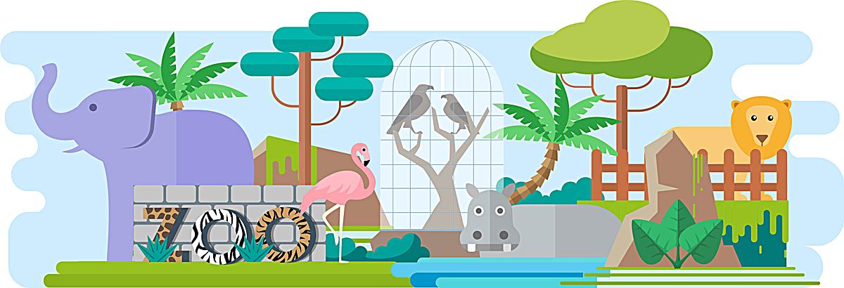 动物园扁平海报背景