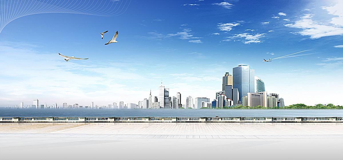 海景城市大气商务蓝色淘宝海报背景图片