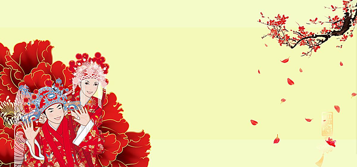 中式婚礼手绘黄色banner背景