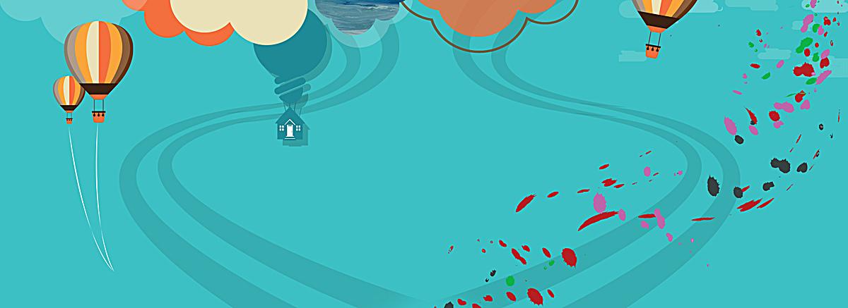 蓝色热气球卡通手绘淘宝海报背景