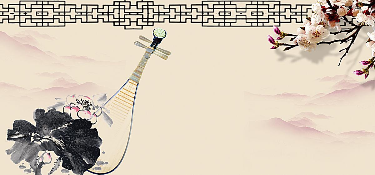 中国风水墨画琵琶背景海报banner