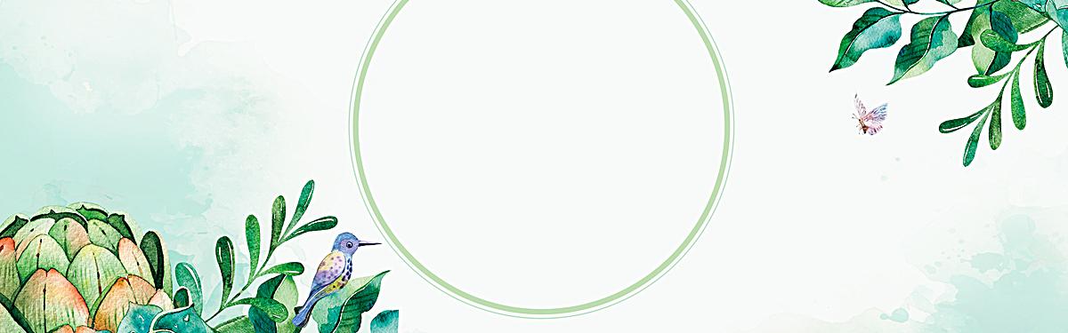 春天小清新手绘绿色电商海报背景