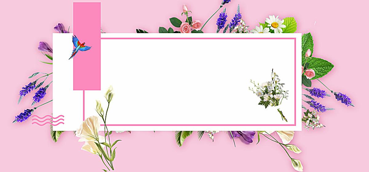 电商手绘植物海报背景