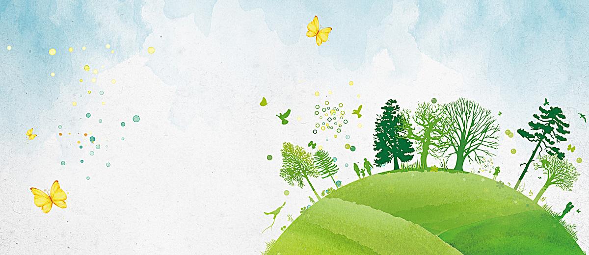 手绘地球植树节banner海报背景