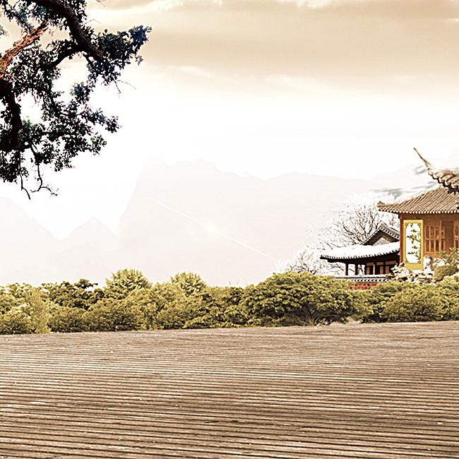 中国风建筑红酒酒庄psd分层主图背景素材