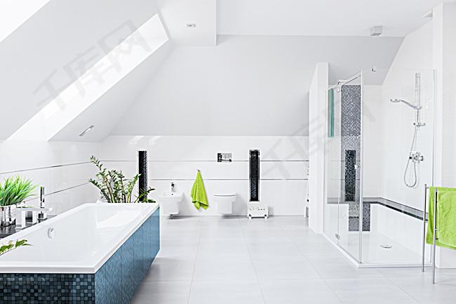 白色家居浴室綠植魚缸海報背景圖片免費下載 廣告背景 高清大圖 千庫網 圖片編號4747767