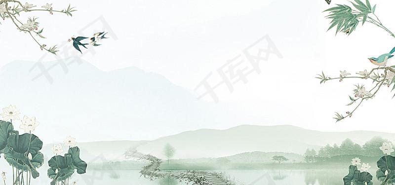 踏青扫墓清明节海报背景