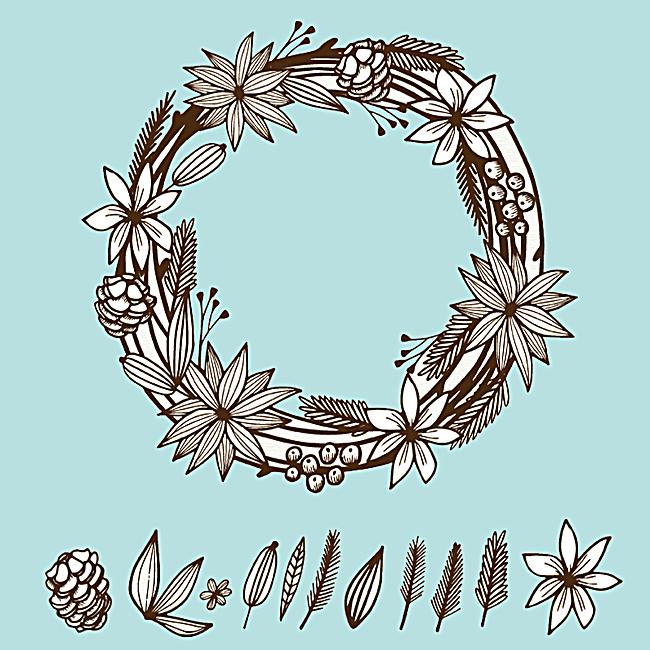 手绘花环背景图案主图