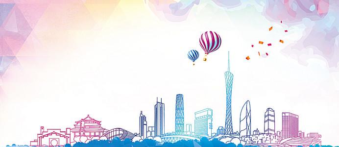 广州城市旅游清新几何渐变海报背景