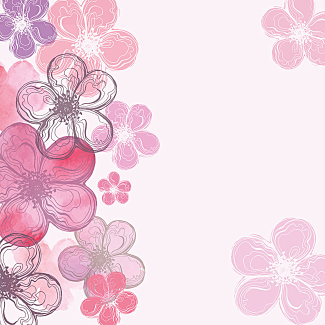 手绘浪漫桃花花瓣主图背景