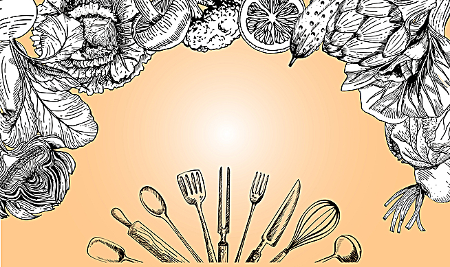 欧式食品广告详情页线描背景素材