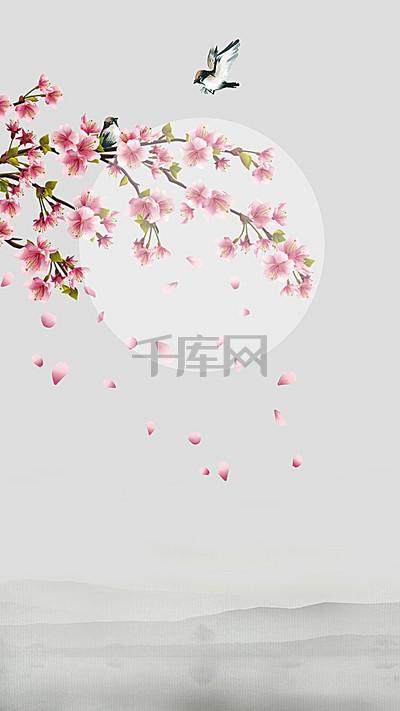 春分节气清新花海报H5背景源文件下载