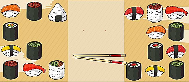 可爱日式寿司店广告详情页手绘背景素材