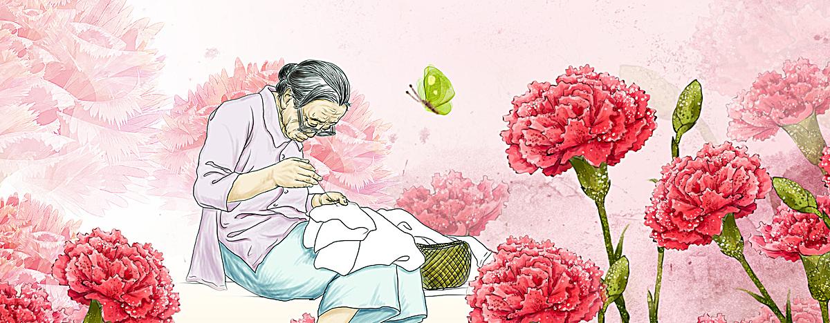 图片 > 【psd】 母亲节母爱手绘红色淘宝海报背景  分类:卡通/手绘
