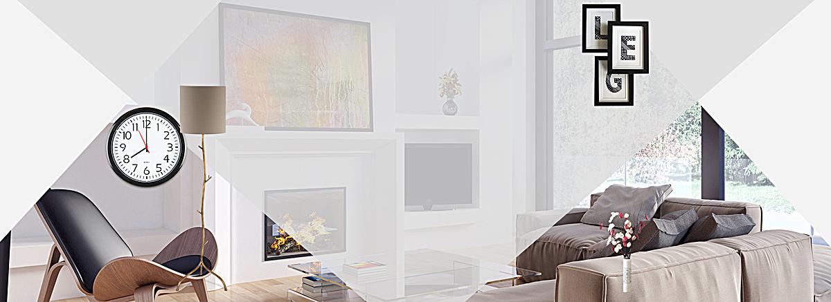 家装节几何渐变钟表客厅灰bannerpsd素材-90设计