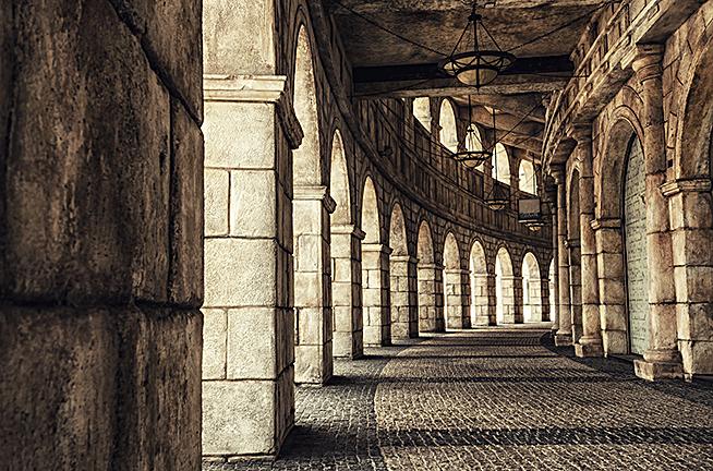 欧式复古建筑走廊背景
