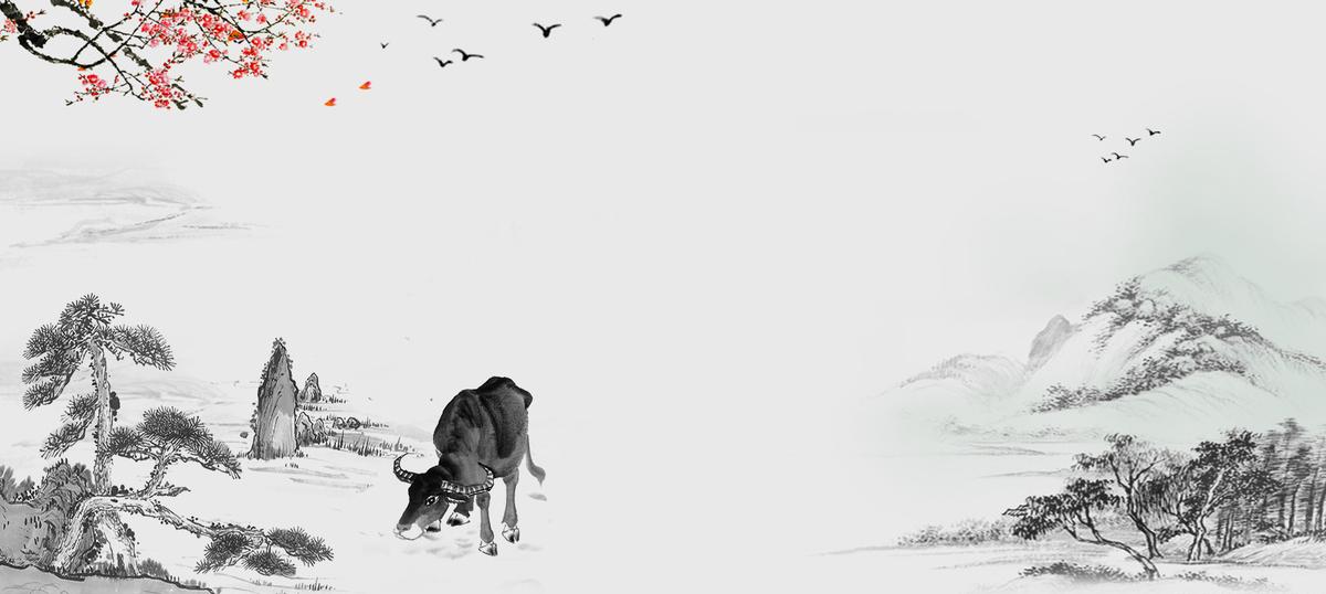 清明节中国风文艺复古灰bannerpsd素材-90设计图片
