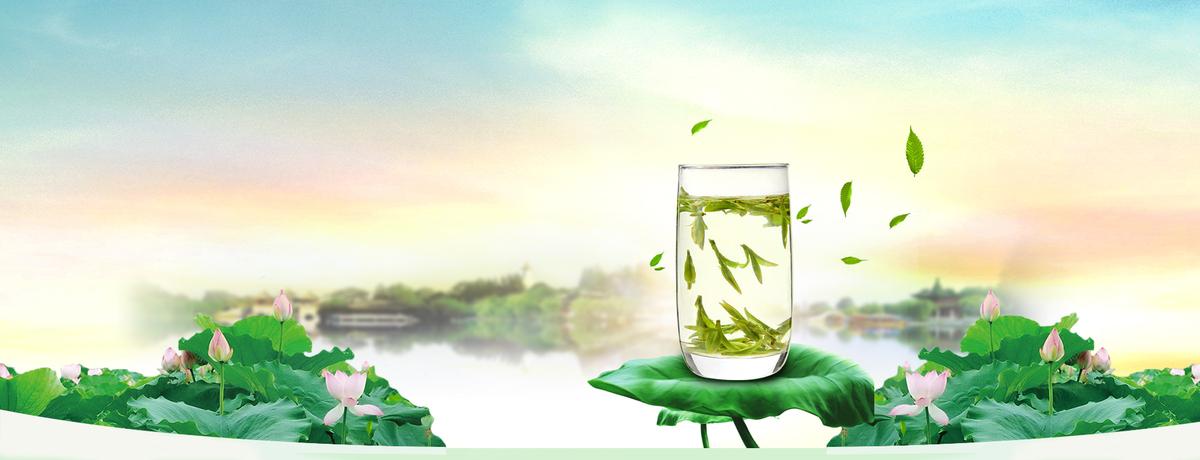 茶叶小清新景色风光蓝banner图片