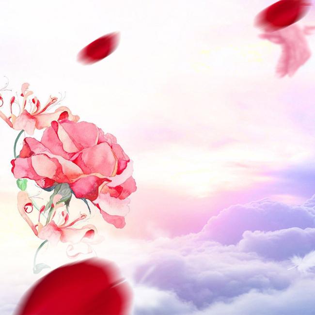 粉色手绘玫瑰花浪漫护肤品主图背景