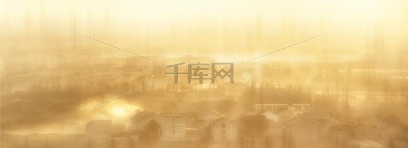 建筑梦幻黄色海报banner背景