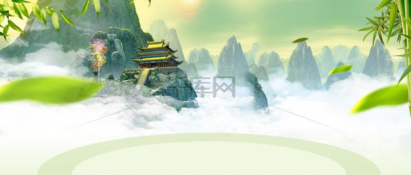 春季踏青中国风绿叶大山banner
