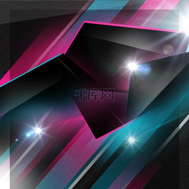 几何组合亮光紫色科技未来感