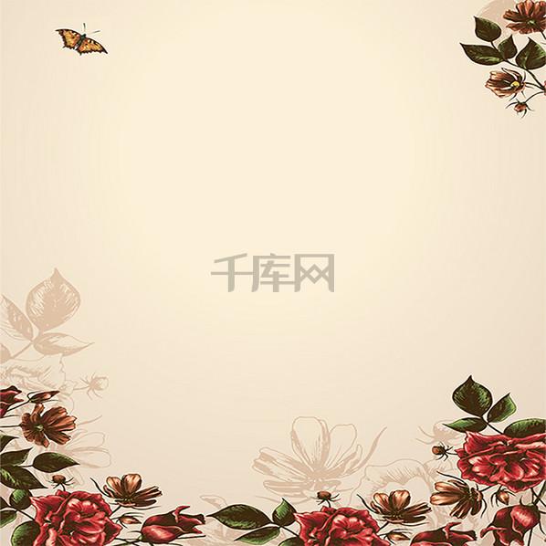 清新花卉蝴蝶飞舞简约清新
