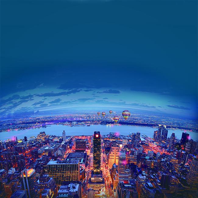 蓝色天空城市建筑大气城市