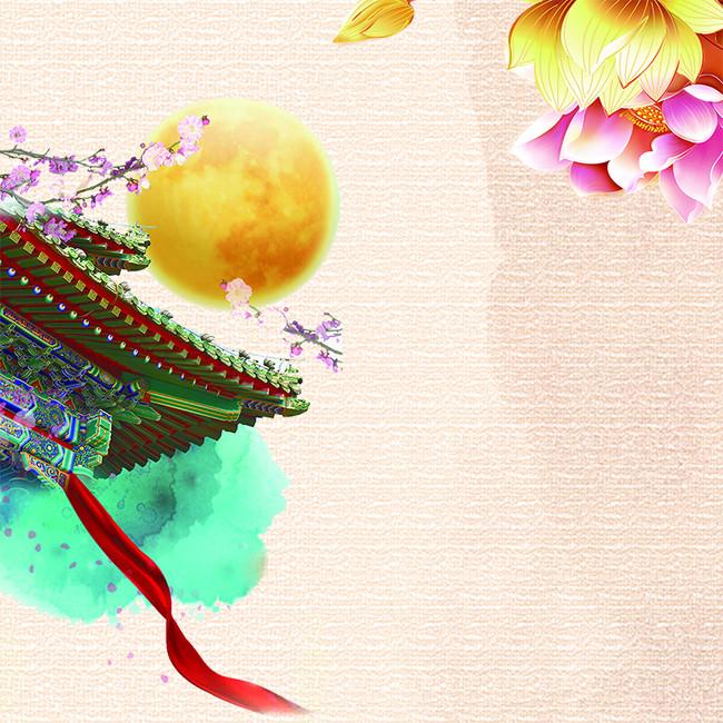 粉色桃花圆圆月亮中国风楼亭