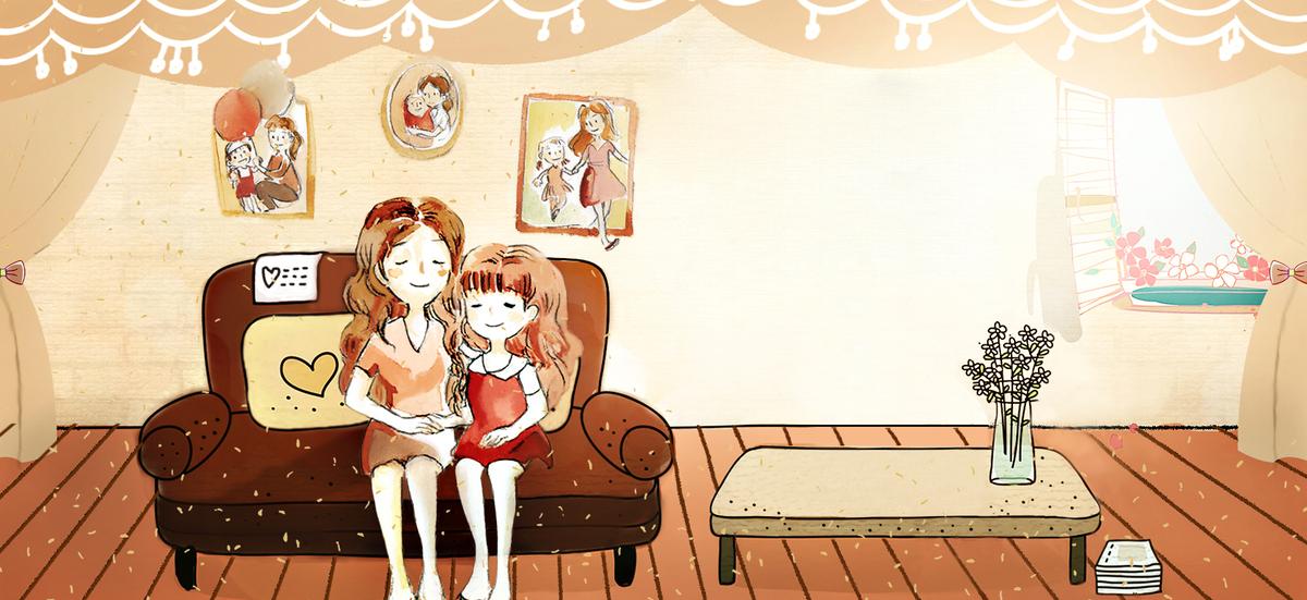 母亲节手绘插画客厅沙发温馨黄banner