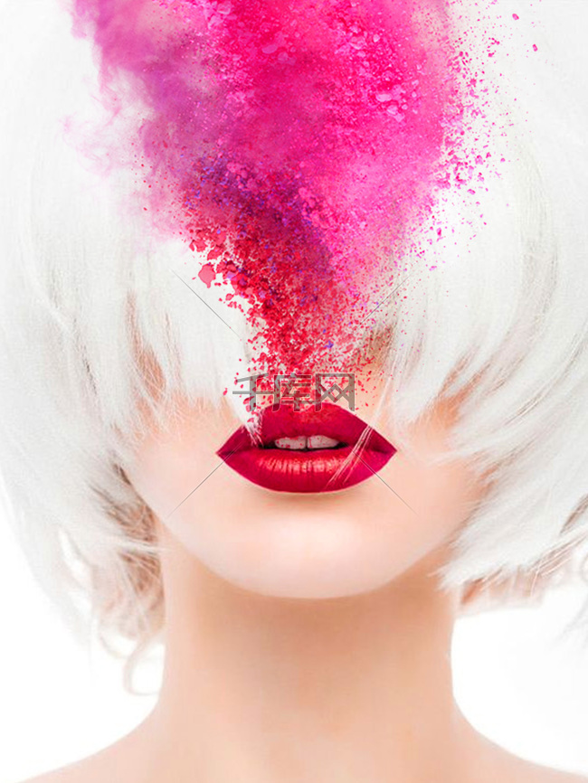 人物头发彩色水墨嘴唇唇彩背景素材