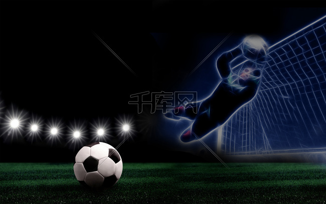 夜色球场足球灯光守门员球门背景素材