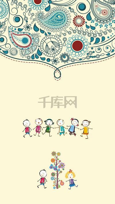 手绘六一儿童节H5背景