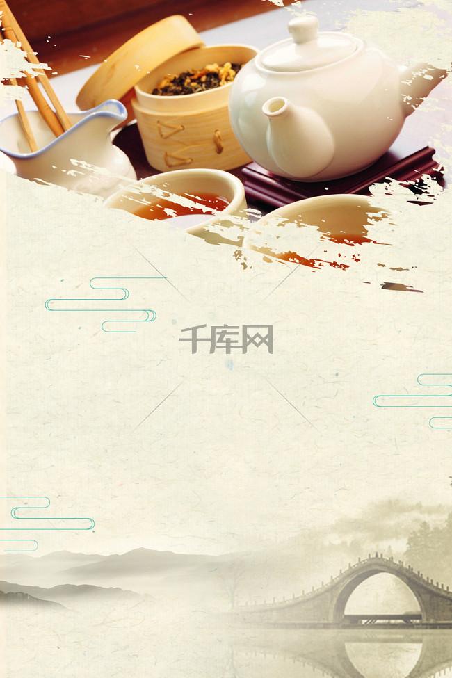 中国茶道海报背景模板