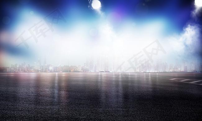 城市夜景汽车海报背景模板