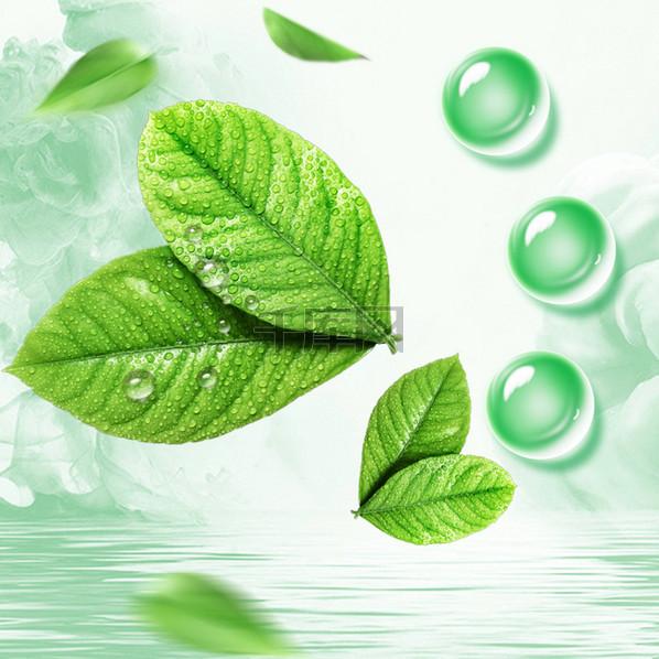 绿叶水珠化妆品PSD分层主图背景素材