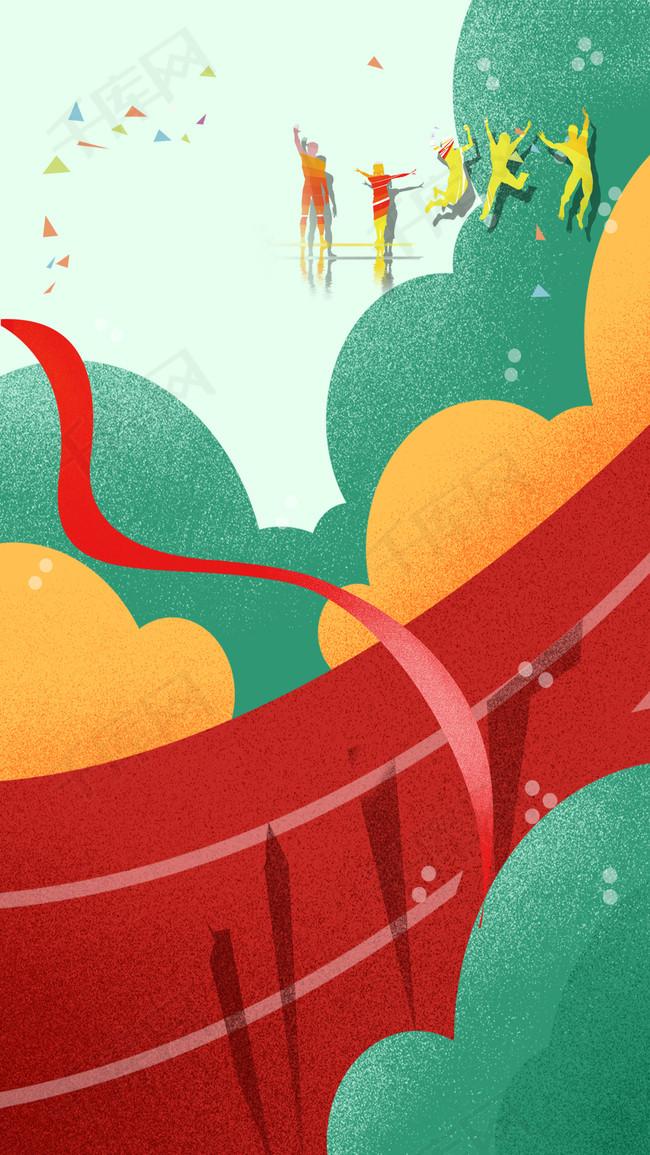 手绘彩色夏季运动会PS源文件H5背景素材