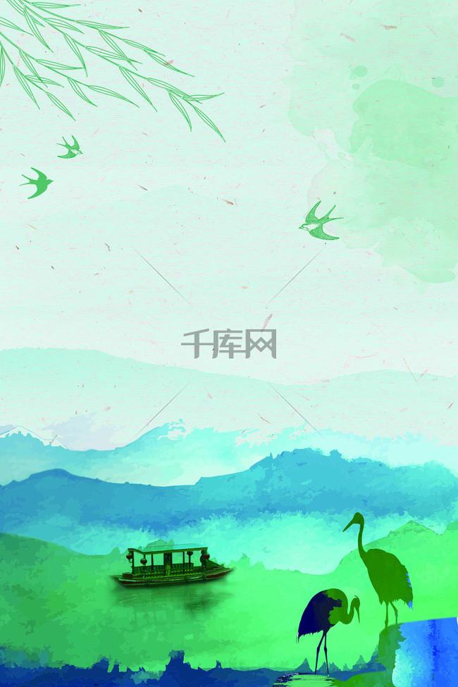 春天清明节广告海报背景