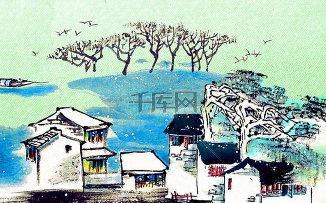 中国风水墨背景模板
