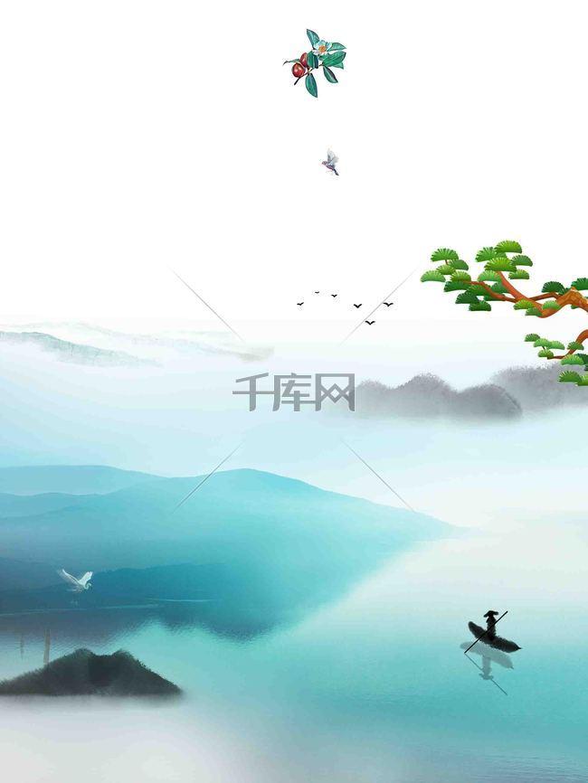 中国风手绘水墨画海报背景模板
