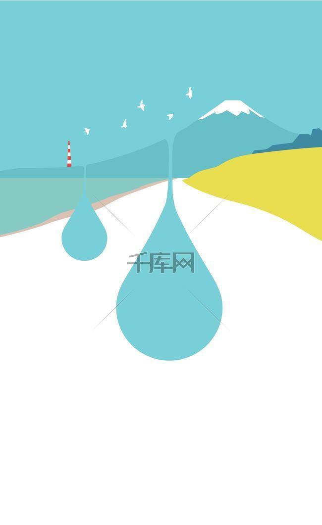 山坡上的水滴背景素材