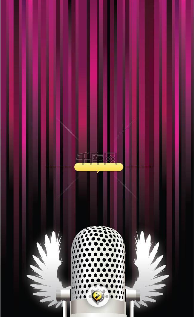 紫色帘幕前的麦克风背景素材