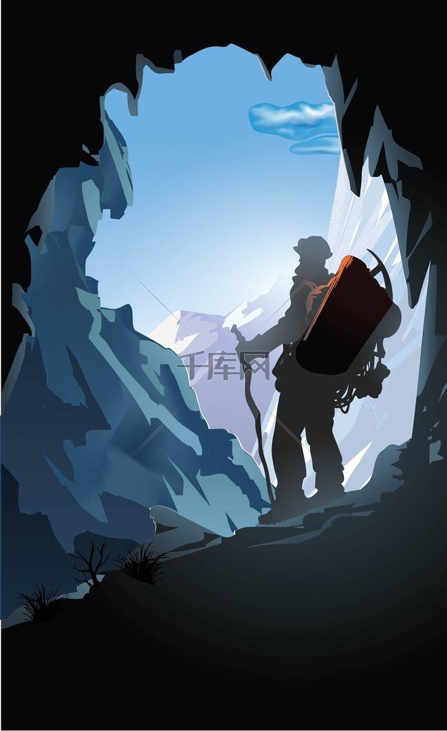 洞口里的爬山者背景素材
