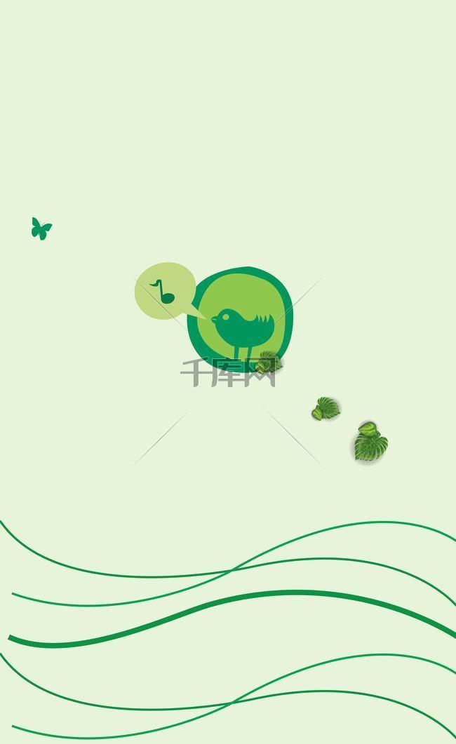 绿色圆圈里的小鸟背景素材