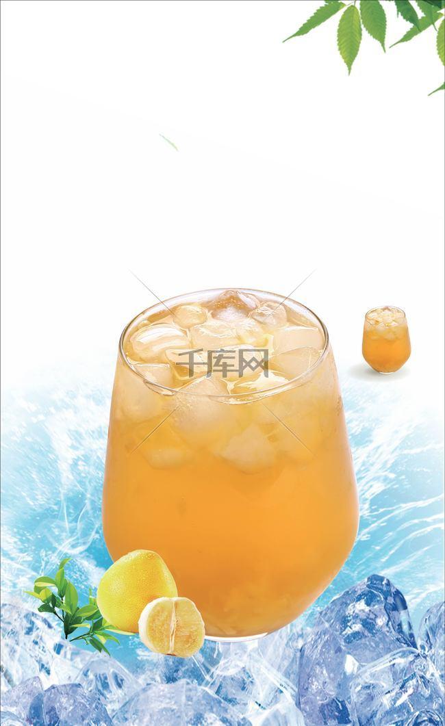 冰块上的果汁背景素材