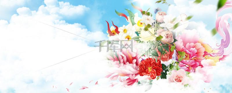 春天梦幻云层丝带浪漫蓝banner