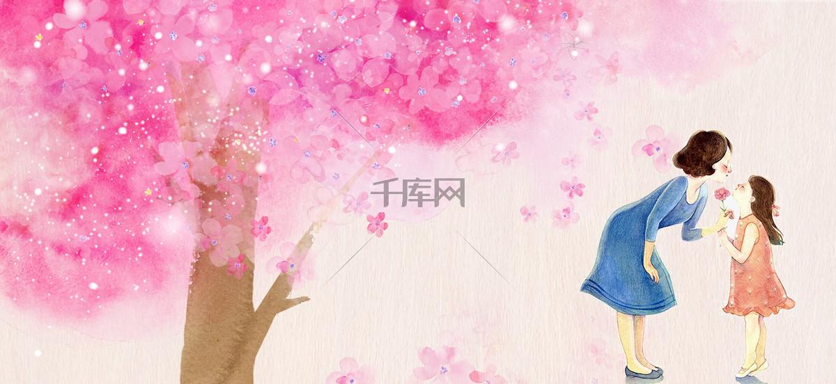 母亲节文艺浪漫渲染树木花朵粉banner
