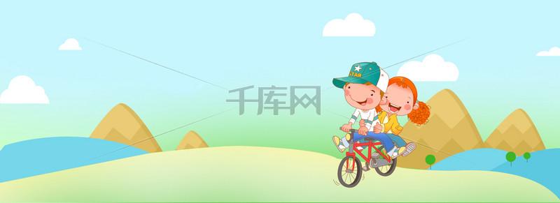 春天踏青梦幻文艺童趣蓝banner