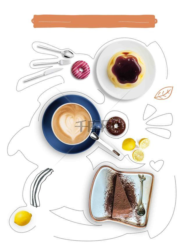美食手绘甜点西餐咖啡清新菜单海报背景模板